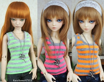 Kawkana - Neon Grey Stripes - Jersey Tank Top, Sport Blouse, T-Shirt, Singlet for MSD, MNF, JID, other 1/4 bjd