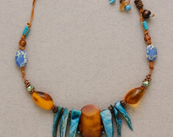 Ethnic World. Unusual jewelry set. Great necklace and long earrings. Natural amber and nacre. Boho chic. lovely gift for her