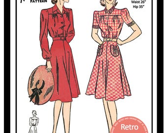 1940s Shirt Waist Dress Sewing Pattern -  PDF Full Size Sewing Pattern - Instant Download