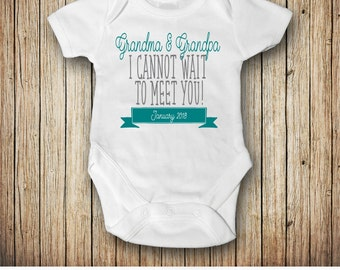 Pregnancy Announcement Outfit, Pregnancy Reveal to Grandparents, I Cannot Wait To Meet You, Customize Date, Colors, and Text