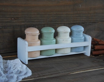 Spice Jars, Rack, Shabby Chic, Sage Green, Grey, Ivory, Beige, Hand Painted, Wood Rack, Upcycled, Kitchen Storage, Decor, Organizer