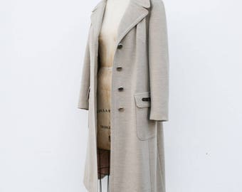 1960s grey beige virgin wool coat