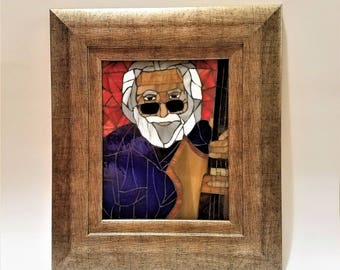 Jerry Garcia Unique Stained Glass Deadhead Mosaic Picture, Jam Band, Unique Stained Glass, Hippie Wall Art, Grateful Dead Art, Music Artwork