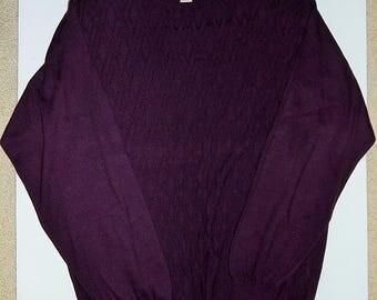"Pronto Uomo 48"" Chest Mens XLT Dark Purple Pullover Knit Sweater Italy"