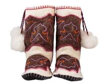 Felt Boots  Wool  Women Boots  Home Shoes Warm Boots Handmade Boots men shoes Woogo 118 Brown