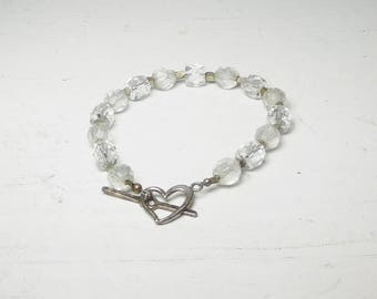 """Crystal Beaded Bracelet with Silver Beads Sterling Silver Heart Toggle Closure Hippie Jewelry Boho Bling 7 1/2"""""""