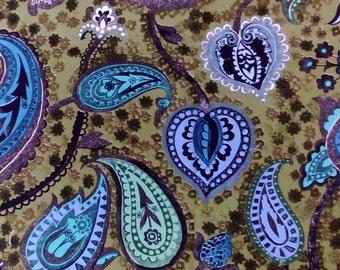 Vintage cotton fabric 1960s 'Kashmir' by Sandersons