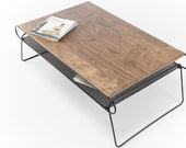 Coffee table, modern coffee table, mid century, living room table ion solid walnut and iron
