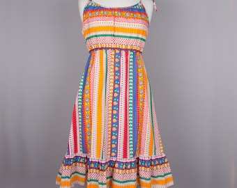 1970s cheerful stripe vintage sun dress