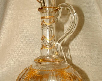 An Antique Bohemian Glass Decanter and Stopper Circa 1850