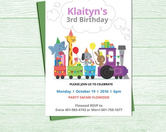 Safari Animals Birthday printable/Animals Birthday Invitations/Zoo Birthday Invitations/Circus Birthday InviteDIGITAL/Balloons/Bunting