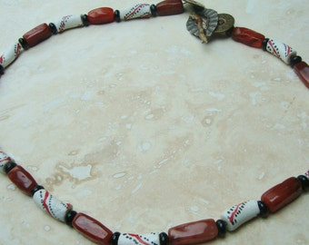 African krobo bead necklace with carnelian