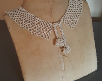 Vintage Off White Glass Beaded Collar Bib Necklace
