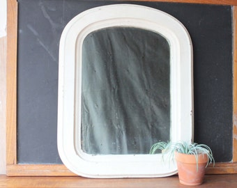Antique Wood Arched Louis Philippe Style Mirror, White Mirror, Vintage Mirror, Shabby Chic, Victorian