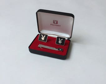 PLAYBOY silver & black enamel cufflinks and tie bar in original box / mint condition