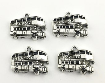 4  London bus charm enamel and silver tone ,18mm x25mm # CH 117