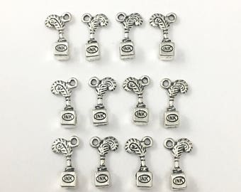 BULK! 12 ink charms antique silver,20mm  # CH 197