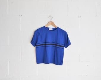 90s Royal Blue Boxy Cotton T-Shirt · Blue 90s Top · 1990s Royal Blue Top · 90s Cotton Shirt · 90s Minimal Shirt · 90s Blue Cotton Blouse · M