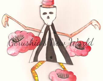 NEW - Find Me - Articulated Paper Doll and Matching Print, Dia De Los Muertos, art print, art doll