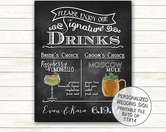 Bride Groom Signature Drinks Chalkboard Wedding Sign   Chalkboard Signature Drink   His and Hers Drinks Bar Menu Rustic Digital Printable