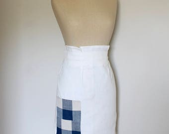 Ready to Ship- White Linen Half Apron