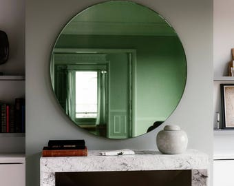 "Green Deco mirror.  30"" diameter round Art Deco Inspired green Wall Mirror. 1920s and 30s inspired furniture."