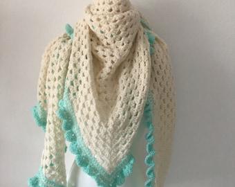 Handmade crochet shawl Cream and aqua