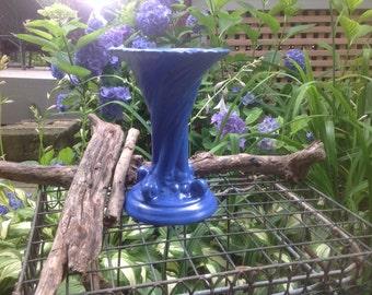 Vintage Camark Pottery Vase - vibrant blue