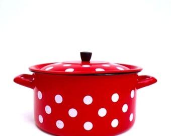 Vintage French Enamel Polka Dot Spotty Red White Large Lidded Casserole Pot Shabby Chic Enamelware Kitchenalia