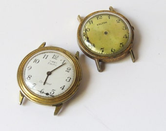 2 Vintage Watch Cases with watch Faces and movements