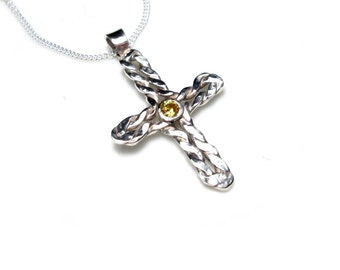 Cross silver necklace, cross necklace handmade 925 sterling silver