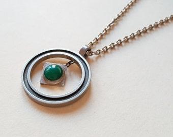 Vintage kinetic pewter pendant necklace, Knut Erik Wallberg, Wege Tenn, Sweden, 1973 (F703)