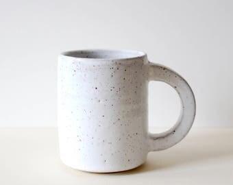 Sale: ceramic coffee mug, tea mug, cup /  white on speckled clay / ready to ship