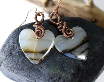 Montana Agate Earrings - Agate Shapes - Heart jewelry - Made in Alaska - Wire Wrapped -Copper Jewelry