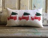 Burlap Pillow Cover   Christmas Wagon pillow  Retro Christmas Tree Car   Christmas pillow   Holiday decor   Christmas decor   Holiday pillow