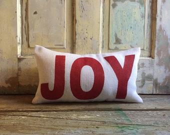Burlap Pillow-  JOY pillow | Christmas pillow | Holiday decor | Christmas decor | Holiday pillow | Red Joy pillow |