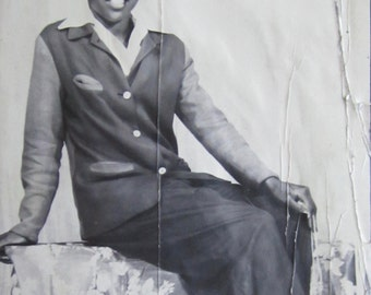 Stylish 1940's Pretty African American Black Woman Poses In Pants Suit Studio Photo - Free Shipping