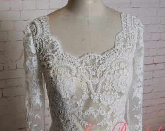 Long Lace Sleeves Wedding Dress with Champagne Underlay Simple A-line Wedding Dress  with Chiffon Skirt