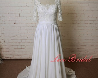 Lace Wedding Dress with 3/4 Length Sleeves A Line wedding Dress Chiffon Wedding Gown