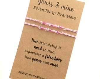 """FRIENDSHIP Bracelets ~ YoURS & MiNE SeT ~ Pink cotton Cord with Pink/Rose Seed Beads mix ~ """"True Friendship is Hard to Find"""" ~ Adjustable"""