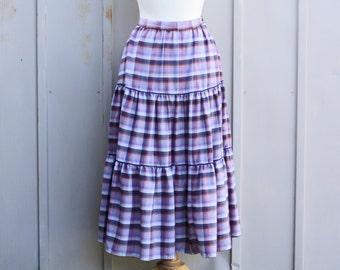 Plaid Prairie Skirt - Pastel Tartan Skirt - Vintage Peasant Skirt - Tiered Skirt - Lavender Plaid Skirt - Retro Gingham Skirt - Indie Skirt