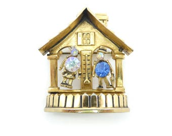 Vintage Coro Forecast Brooch, Weather, Thermometer, Black Forest Clock, Rhinestones, Gold Tone, Moving Parts, Signed