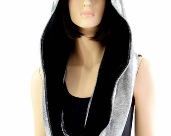 Reversible Silver Holographic Festival Hood with Black Velvet Hood Lining and Cat Ears Infinity Rave Hood - 154418