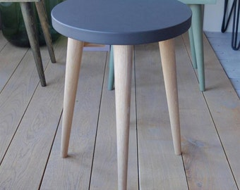 Dark grey top Round Side Table Stool Coffee table Round small table Wood stool Scandinavian Style Black top stool Bedroom ALD-0003B
