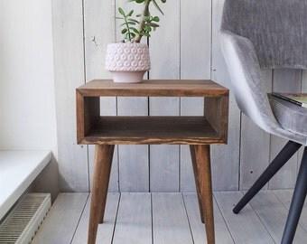 Walnut brown Mid-century Modern Bedside Furniture Nightstand Solid pine wood furniture Scandinavian Style Bedroom table ALD-0004WB
