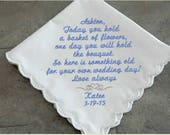 Flower Girl Gift, flower girl handkerchief, embroidered hanky, wedding party, mother of bride, mother of groom, personalized handkerchief