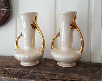 Iridescent and Gold Vintage Vase Mid Century