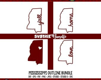 Mississippi SVG State Outline SVG State Decor State of Mississippi svg designs Cricut Design Space Cricut Explore Silhouette Studio