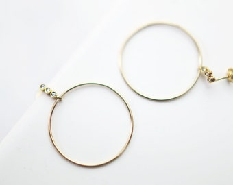 CZ diamond and Big Circle Statement Earrings // Trendy Gold Earrings Gifts for her