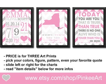 baby girls room decor, birth print dr seuss, baby stats, birth stats, birth date print, baby girl wall decor, Birth Announcement Wall Art